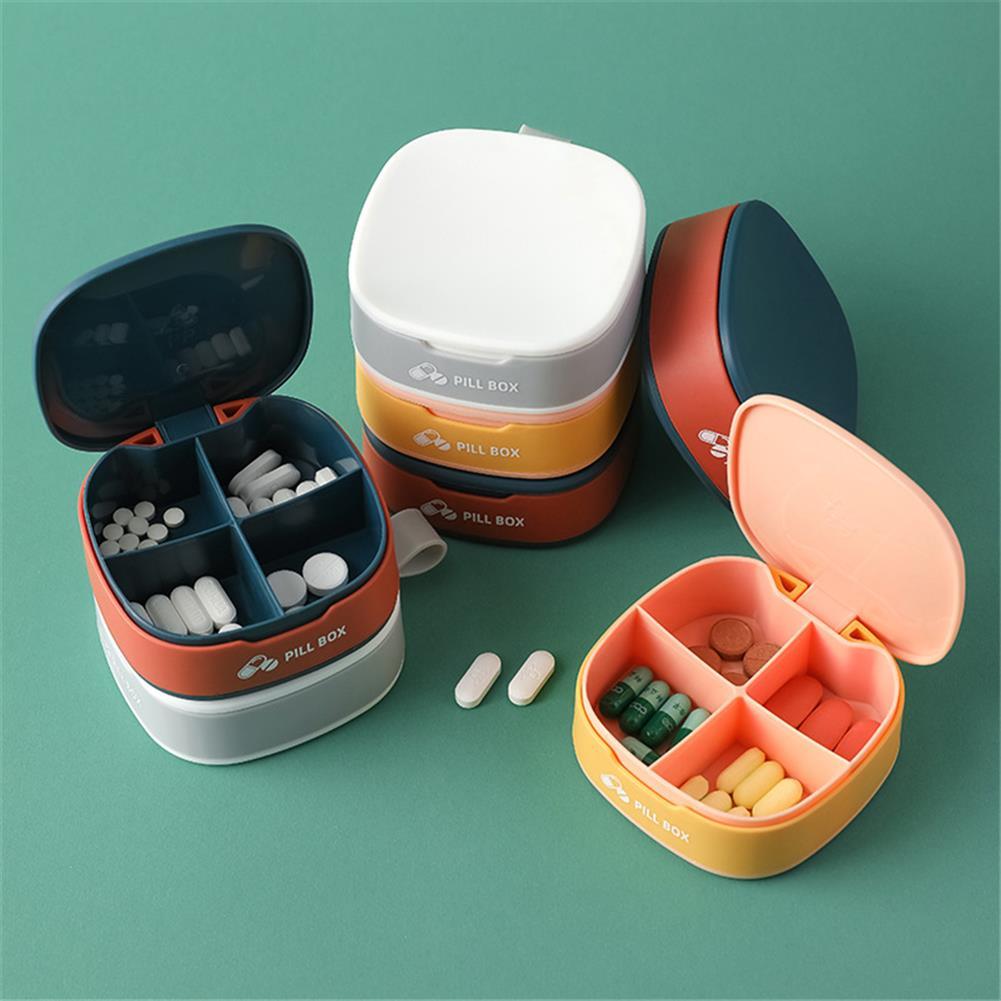 desktop-off-surface-shelves Mini Portable Pill Box 4 Grid Silicone Seal Travel Storage Pill Box Case Travel Divider Home Holder Cases Storage Box HOB1797769 1