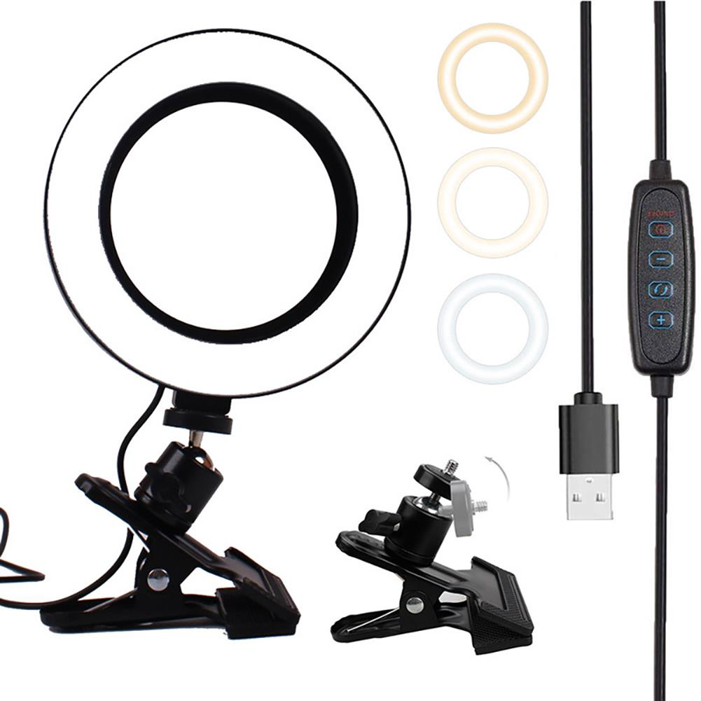 webcams LIBEN LB-6J 6inch LED Ring Light Dimmable Selfie Ring Lamp 3 Kinds of Color Temperature Line Control for Computer Live with Clip HOB1798684 1