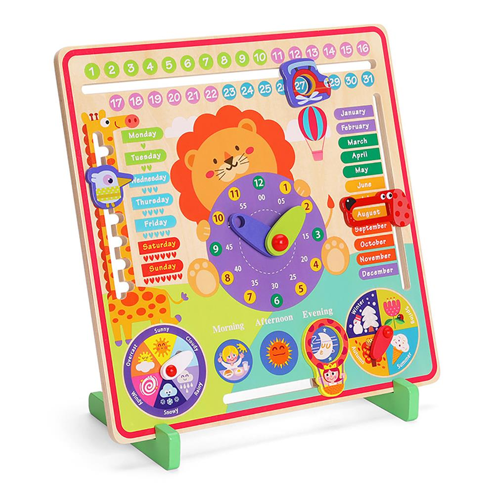 other-learning-office-supplies 7 in 1 Vertical Weather Calendar Clock Wooden Month 4 Seasons Time Cognition Early Education Puzzles Toy for Toddlers Kids HOB1799206 1