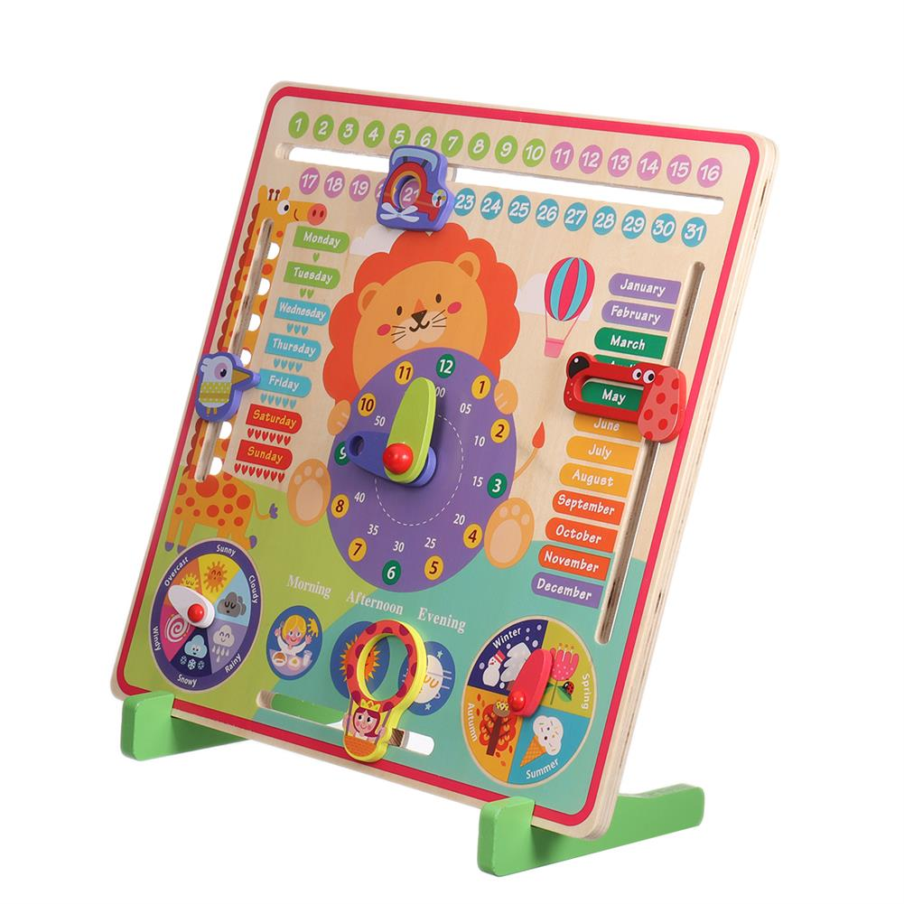 other-learning-office-supplies 7 in 1 Vertical Weather Calendar Clock Wooden Month 4 Seasons Time Cognition Early Education Puzzles Toy for Toddlers Kids HOB1799206 1 1