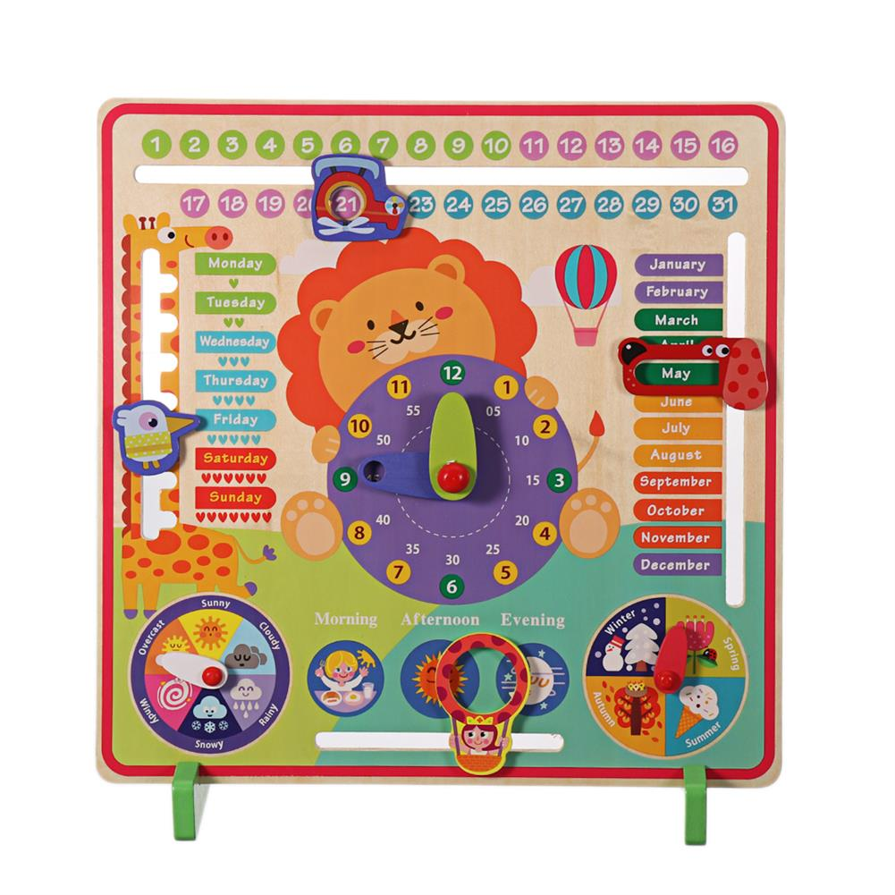 other-learning-office-supplies 7 in 1 Vertical Weather Calendar Clock Wooden Month 4 Seasons Time Cognition Early Education Puzzles Toy for Toddlers Kids HOB1799206 2 1