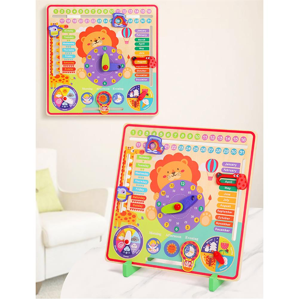 other-learning-office-supplies 7 in 1 Vertical Weather Calendar Clock Wooden Month 4 Seasons Time Cognition Early Education Puzzles Toy for Toddlers Kids HOB1799206 3 1
