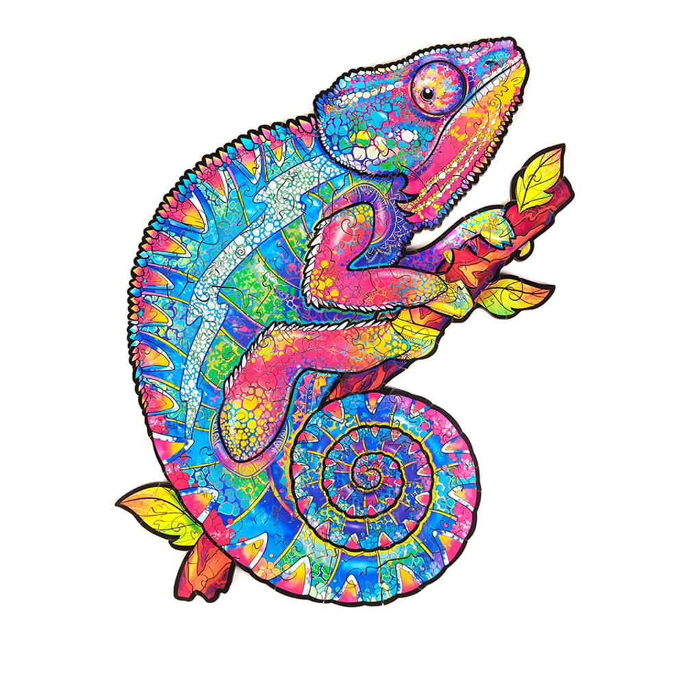 other-learning-office-supplies A3/A4/A5 Wooden Rainbow Chameleon Jigsaw Puzzle Unique Animal Shape Toy Early Education Gift for Kid Children Adults Kids HOB1800549 1