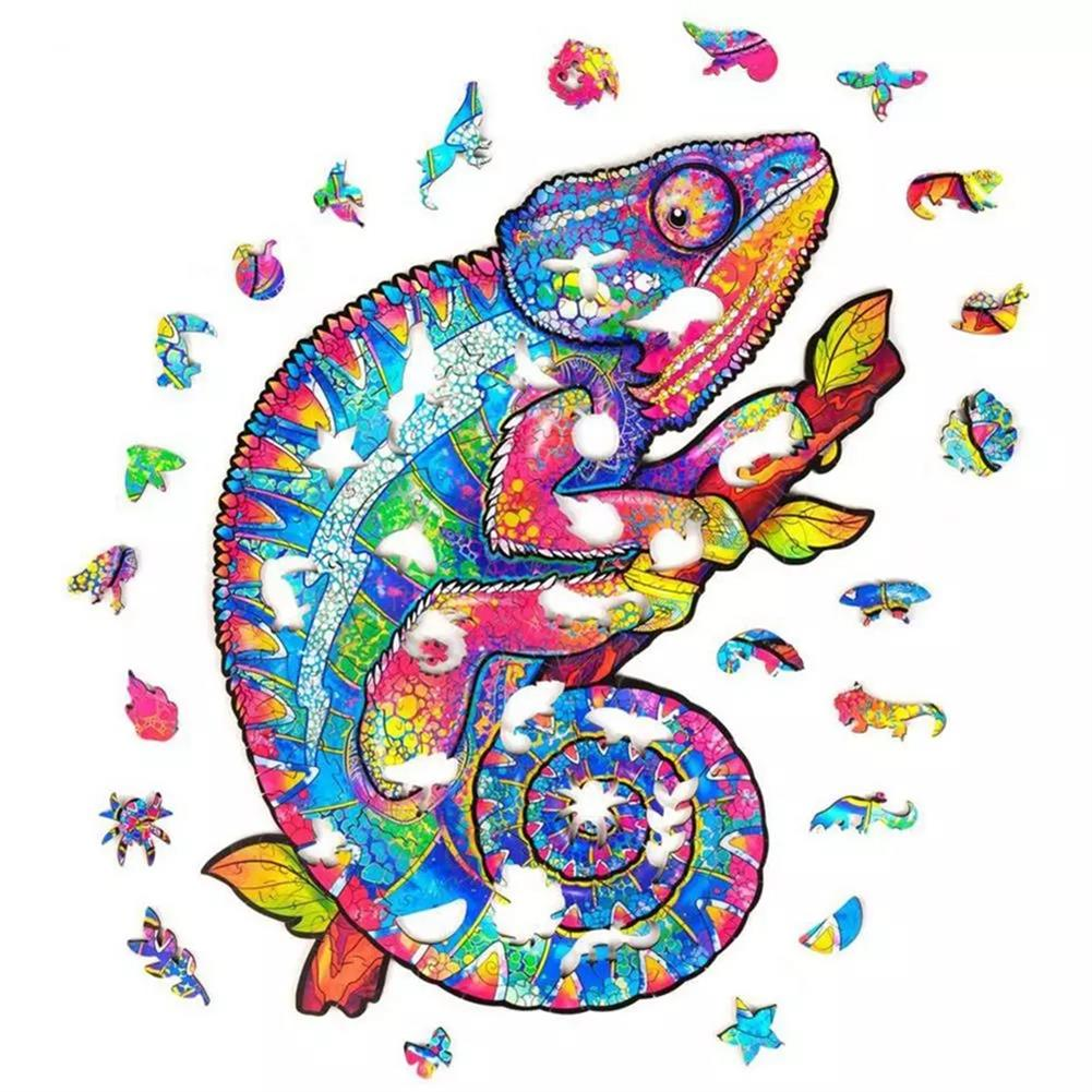 other-learning-office-supplies A3/A4/A5 Wooden Rainbow Chameleon Jigsaw Puzzle Unique Animal Shape Toy Early Education Gift for Kid Children Adults Kids HOB1800549 1 1