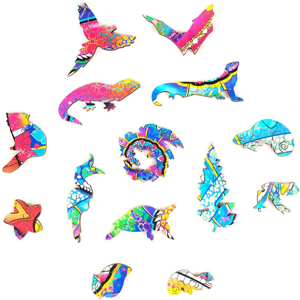other-learning-office-supplies A3/A4/A5 Wooden Rainbow Chameleon Jigsaw Puzzle Unique Animal Shape Toy Early Education Gift for Kid Children Adults Kids HOB1800549 2 1
