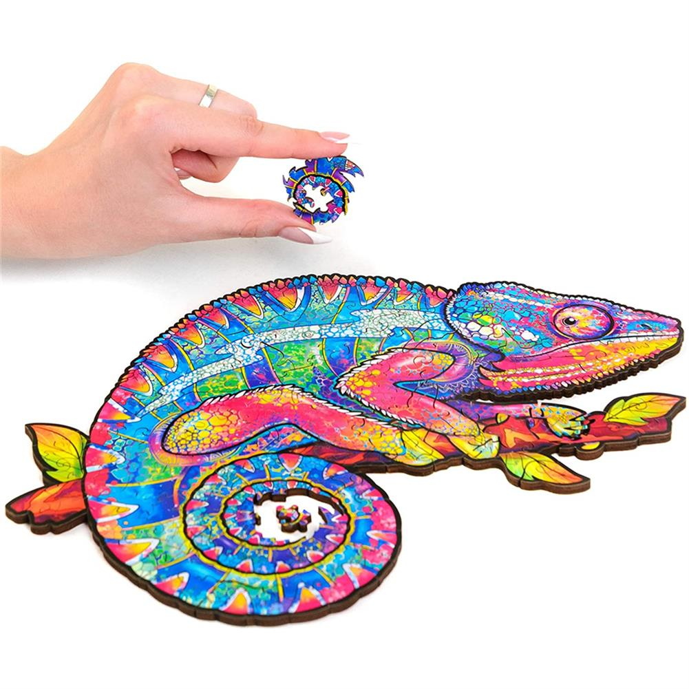 other-learning-office-supplies A3/A4/A5 Wooden Rainbow Chameleon Jigsaw Puzzle Unique Animal Shape Toy Early Education Gift for Kid Children Adults Kids HOB1800549 3 1