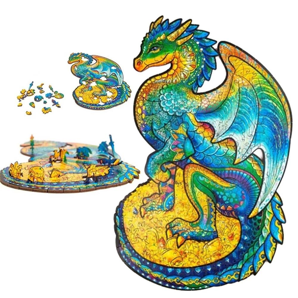 other-learning-office-supplies A3/A4/A5 Wooden Unidragon Jigsaw Puzzle Unique Animal Shape Toy Early Education Gift for Kid Children Adults Kids HOB1800560 1