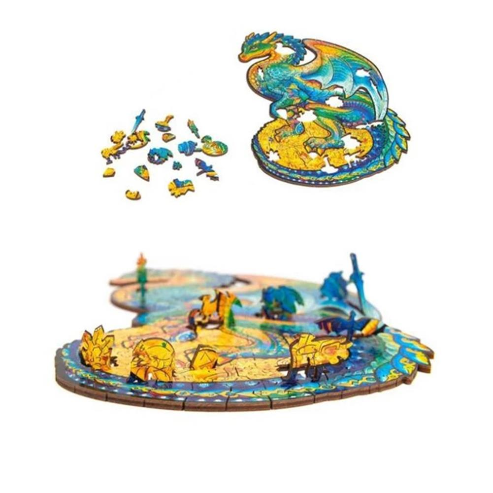other-learning-office-supplies A3/A4/A5 Wooden Unidragon Jigsaw Puzzle Unique Animal Shape Toy Early Education Gift for Kid Children Adults Kids HOB1800560 2 1