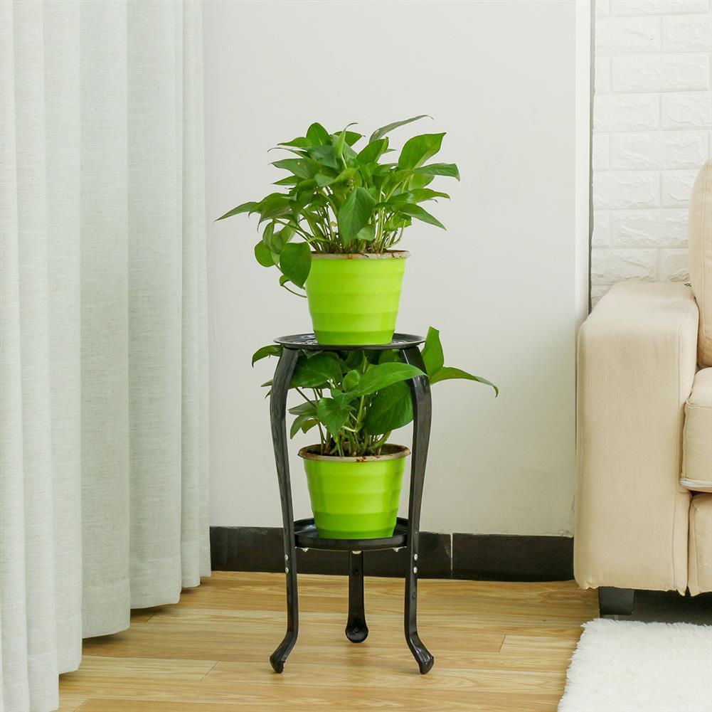 desktop-off-surface-shelves Iron Flower Stand Black/White Random Color 2 Tier Metal Plant Rack Home indoor Living Room Outdoor Balcony Plant Flower Holder for Home Decoration HOB1800775 3 1
