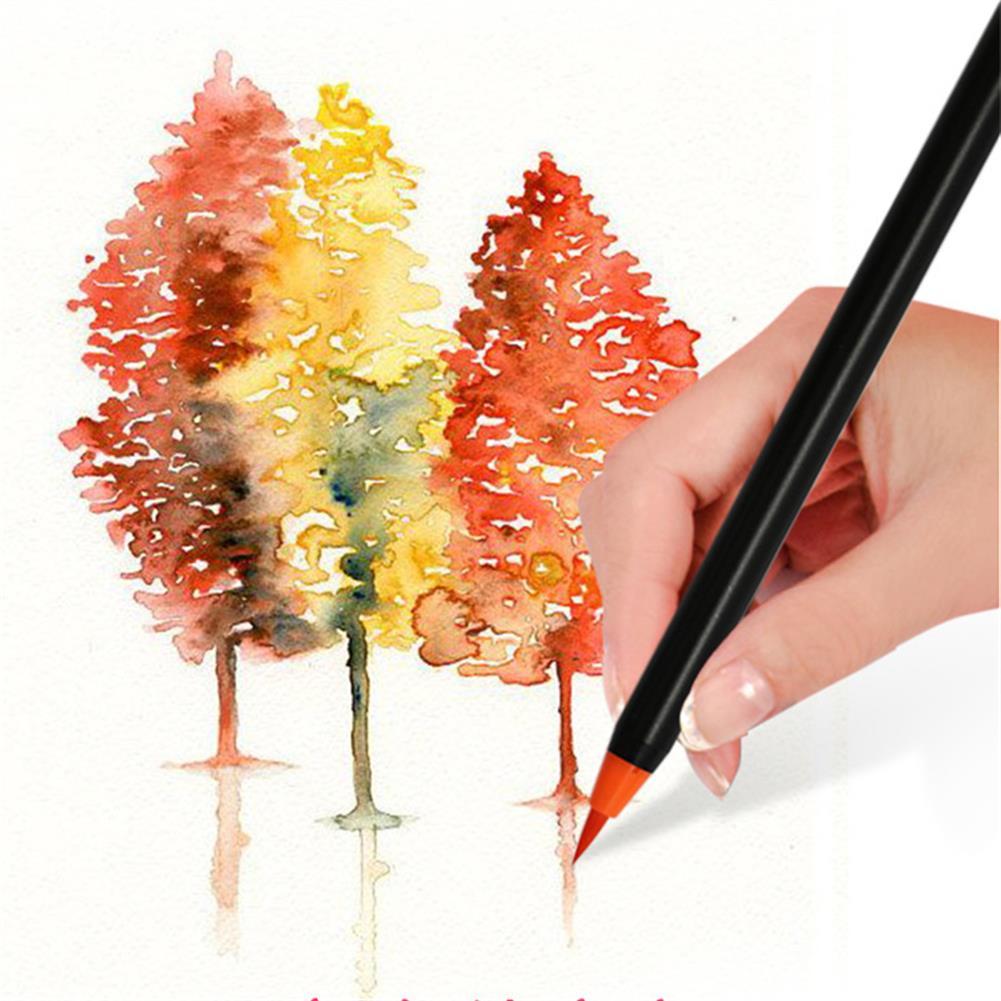 watercolor-paints 25Pcs Watercolor Brush Set 24 Color Watercolor Pens + 1 Water Brush Pen with Hard Case Set for indoor Outdoor Watercolor Painting Sketching HOB1801071 3 1