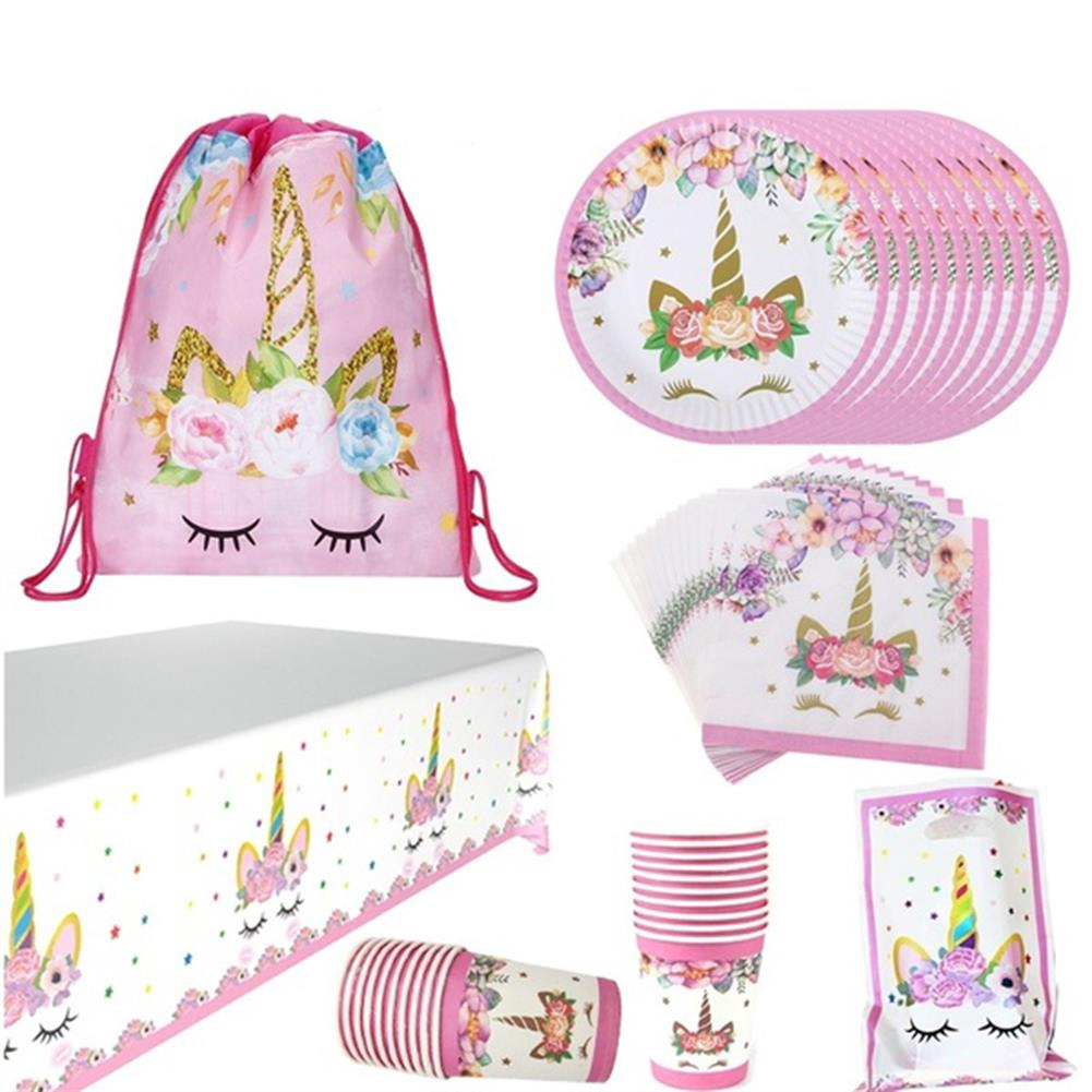 other-learning-office-supplies 72Pcs Party Supplies Set Pink Unicorn theme Tablecloth Paper Cups Napkin Banner Gift Bag Party Supplies Birthday Set Shower Decorations HOB1801234 1