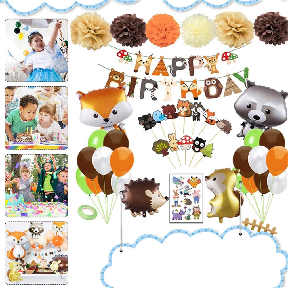 other-learning-office-supplies 95PCS Party Supplies Set Woodland Party Decorations including Happy Birthday Banners Party Balloons for Baby Shower Birthday Party HOB1801340 1