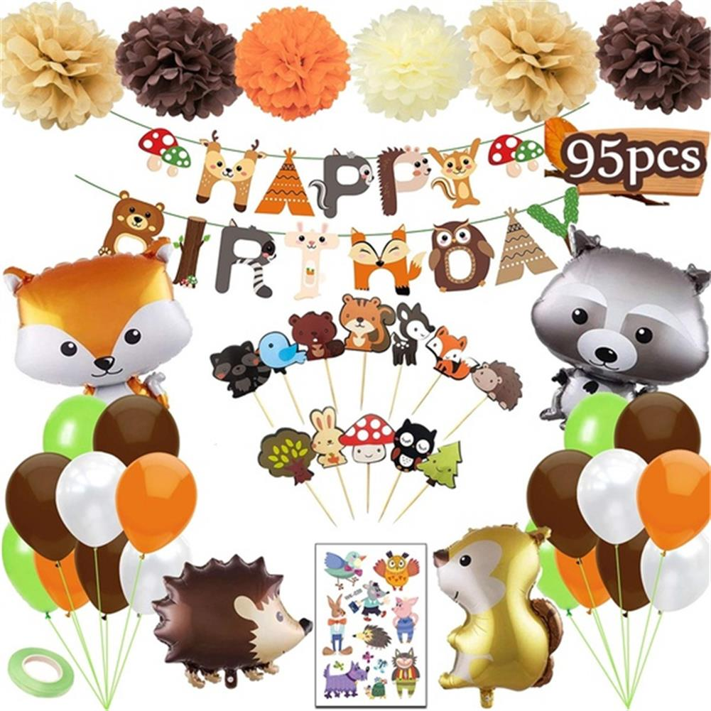 other-learning-office-supplies 95PCS Party Supplies Set Woodland Party Decorations including Happy Birthday Banners Party Balloons for Baby Shower Birthday Party HOB1801340 1 1