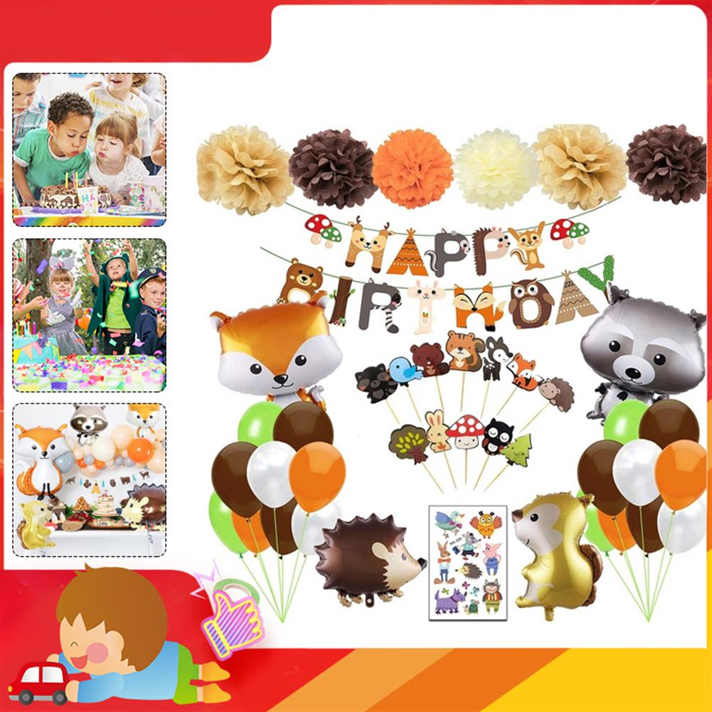 other-learning-office-supplies 95PCS Party Supplies Set Woodland Party Decorations including Happy Birthday Banners Party Balloons for Baby Shower Birthday Party HOB1801340 2 1
