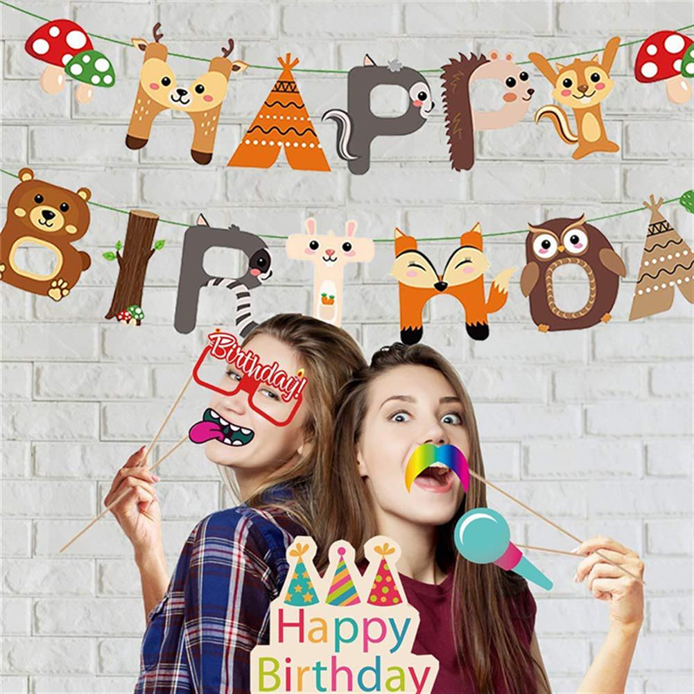 other-learning-office-supplies 95PCS Party Supplies Set Woodland Party Decorations including Happy Birthday Banners Party Balloons for Baby Shower Birthday Party HOB1801340 3 1