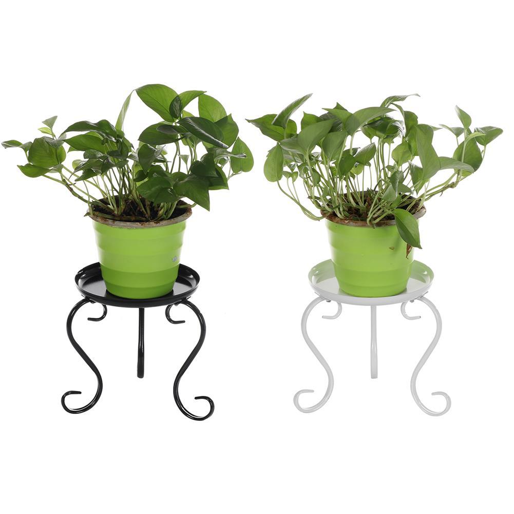 desktop-off-surface-shelves Metal Plant Stand Single Layer 3 Legs Round Patio Shelf Plant Flower Pot Rack indoor Outdoor Garden Decoration HOB1801426 1 1