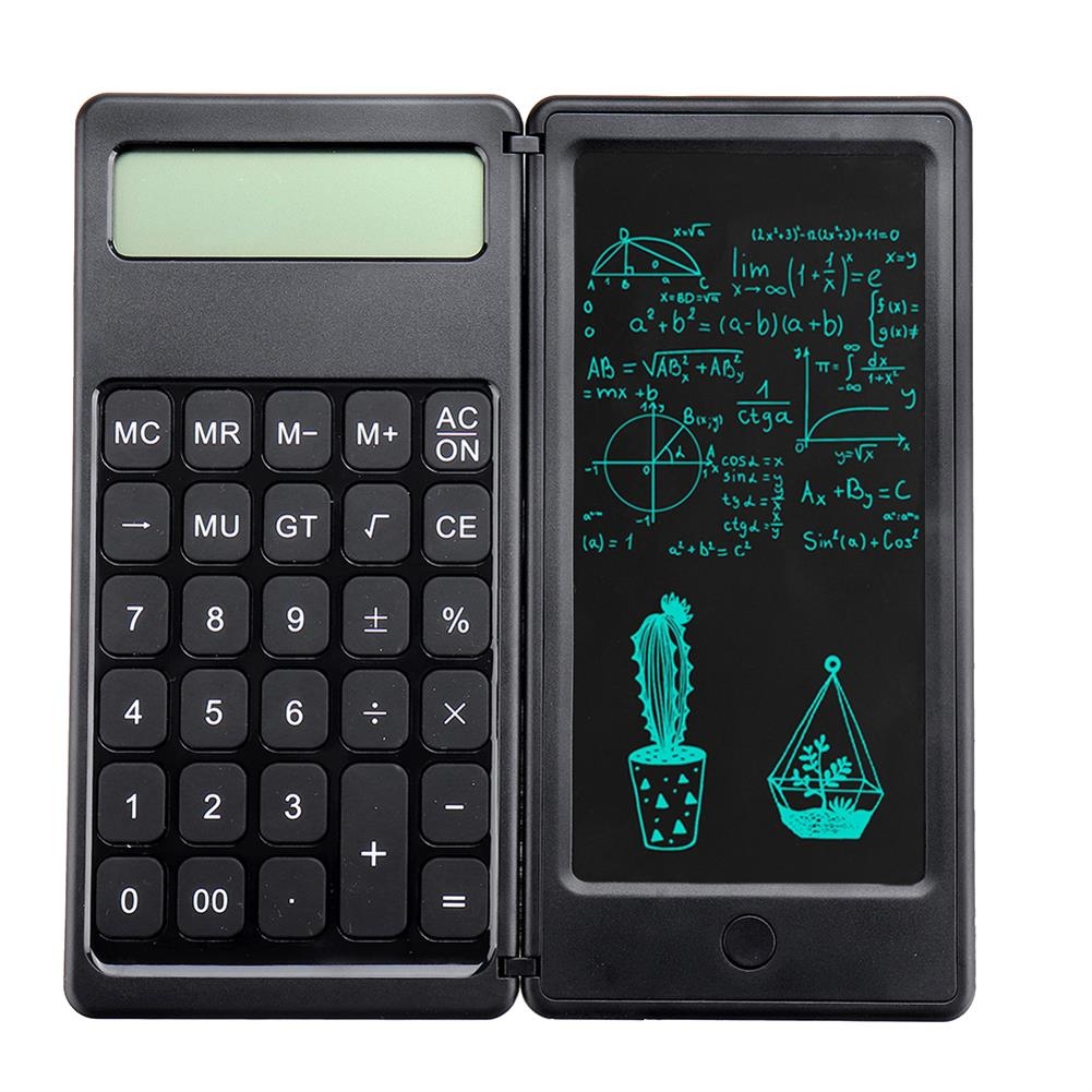 calculator [Highlight Version] Gideatech 12 Digits Display Desktop Calculator with 6 inch LCD Writing Tablet Foldable Repeated Writing Digital Drawing Pad with Stylus Pen Eraser Button Lock HOB1801550 1