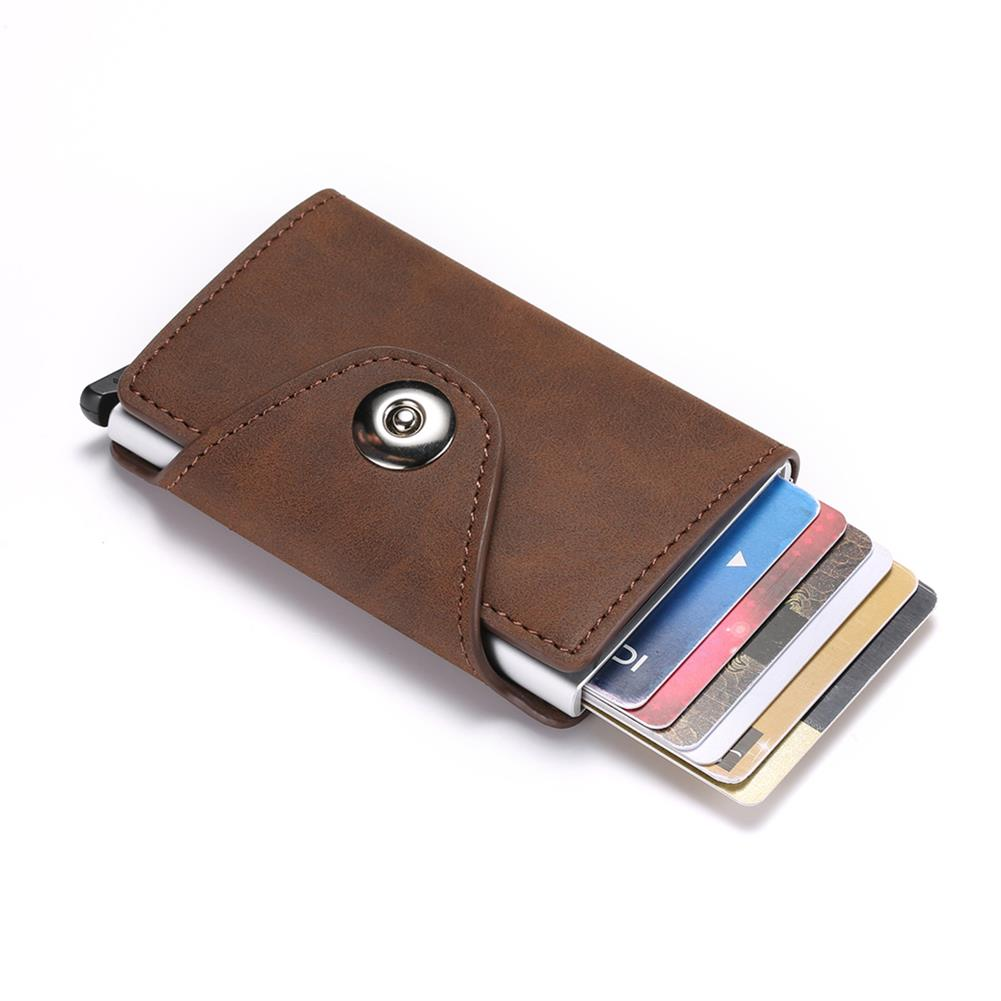 business-card-book Retro PU Leather Money Wallet Large Capacity Anti theft Credit Card Holder RFID Blocking Magnetic Automatic Push Business Card HOB1801821 1 1