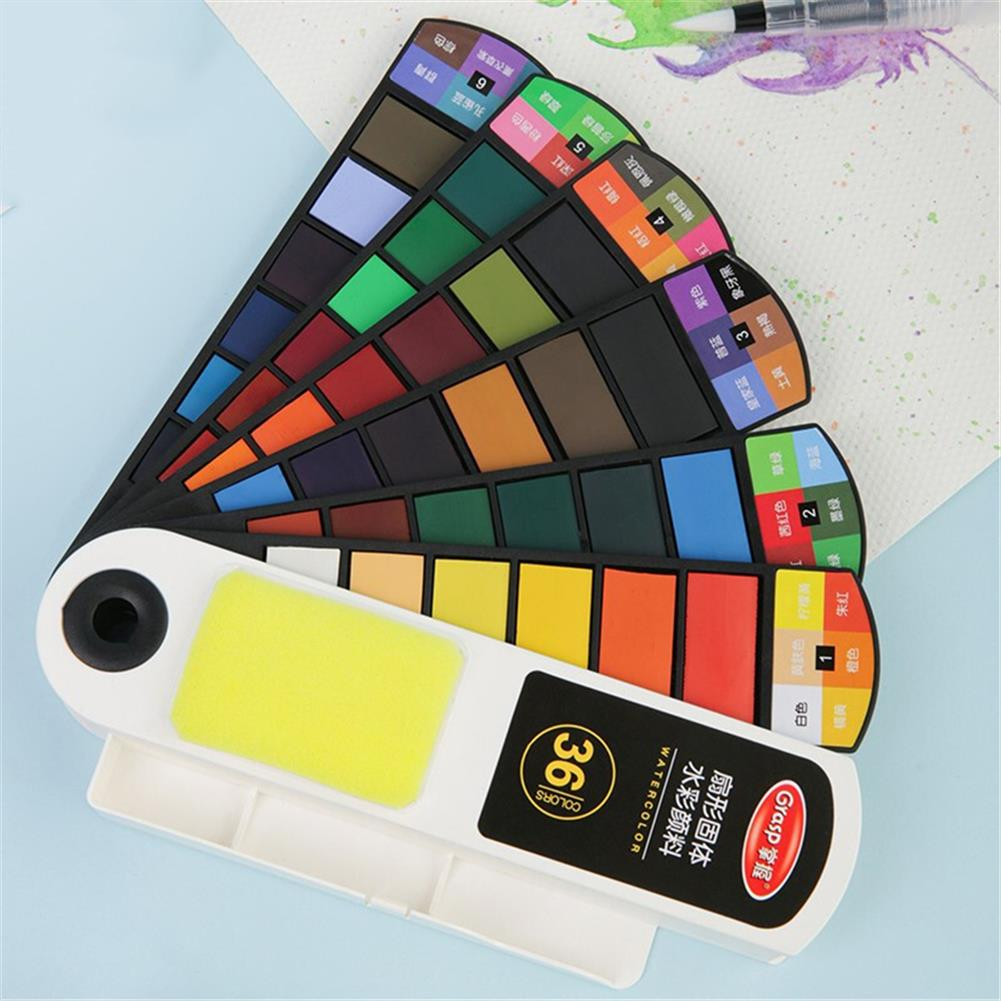 watercolor-paints 18/24/36/42 Colors Watercolor Pigment Washable Fan Shaped Solid Watercolor Pigment Brush for Student Artist Drawing HOB1802370 1