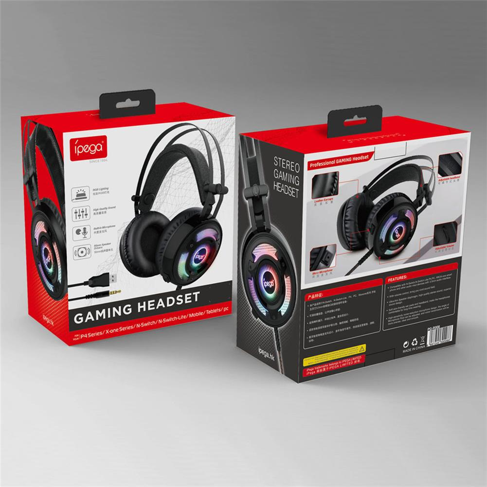 headphones ipega PG-R008 Wired Gaming Headphone 50mm Speaker 3.5mm Audio & USB Plugs with Mic Headset for PC Console Gaming HOB1802632 3 1