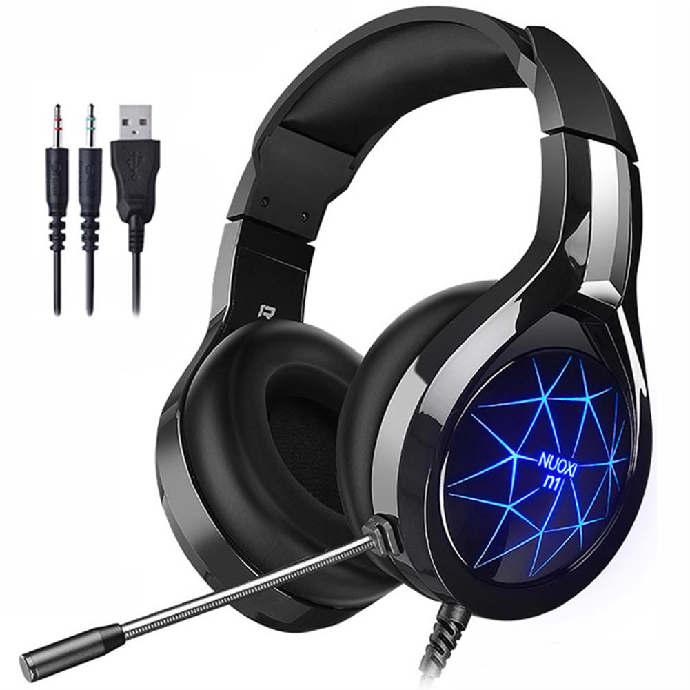 headphones NUOXI N1 Wired Gaming Headphone 50mm Stereo Speaker Noise Cancelling Extended Microphone USB 3.5mm Plug Cool Lighting Effect Headset for Gaming HOB1802808 1