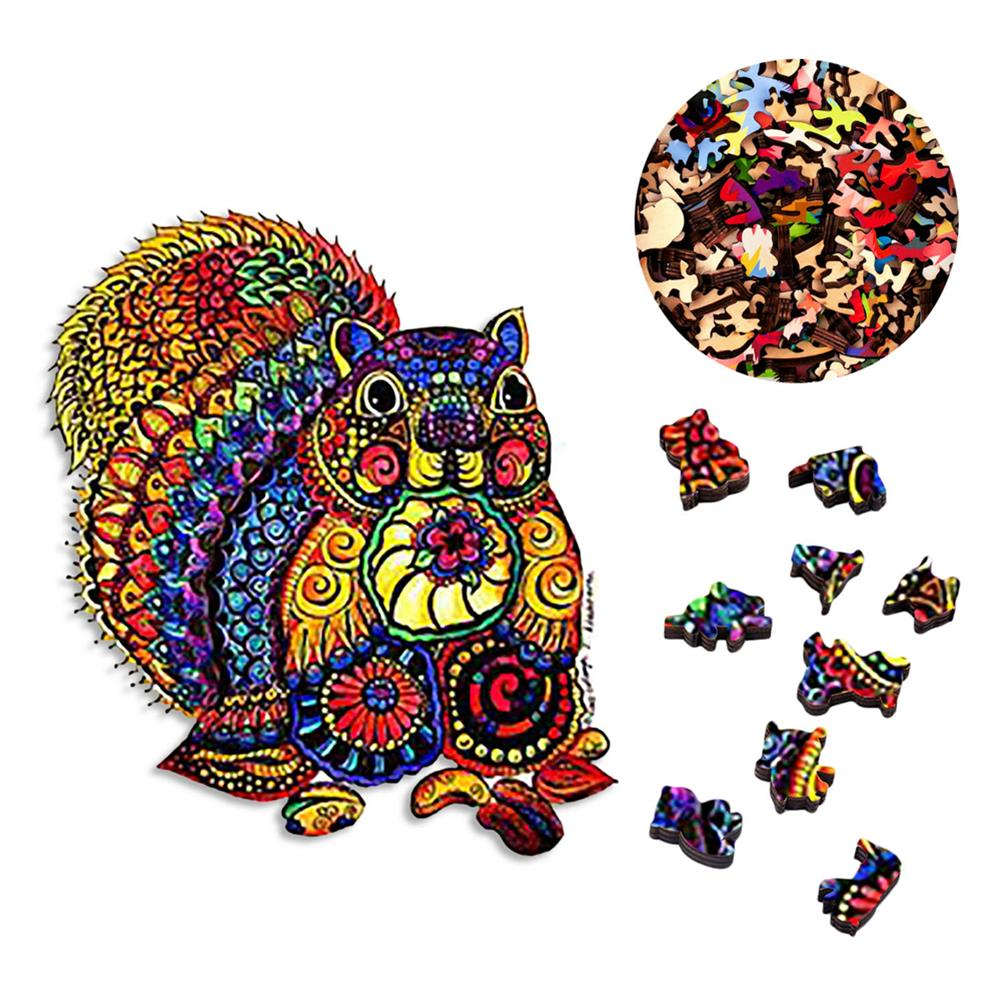 other-learning-office-supplies A3/A4/A5 Wooden Puzzles 3D Squirrel Pattern Puzzle Colorful Mysterious Charming Early Education Puzzle Art Toys Gifts for Childrens Adults HOB1802993 1