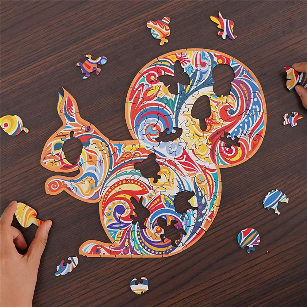 other-learning-office-supplies A3/A4/A5 Wooden Squirrel Pattern Puzzle Colorful Mysterious Charming Early Education Puzzle Art Toys Gifts for Childrens Adults HOB1803088 2 1