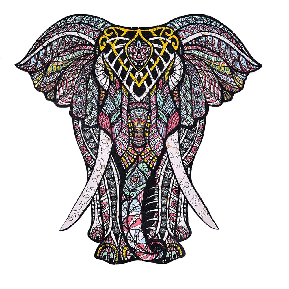 other-learning-office-supplies A3/A4/A45 Wooden Elephant Jigsaw Puzzle Unique Animal Shape Toy Mysterious Charming Early Education Gift for Kid Children Adults HOB1803470 1