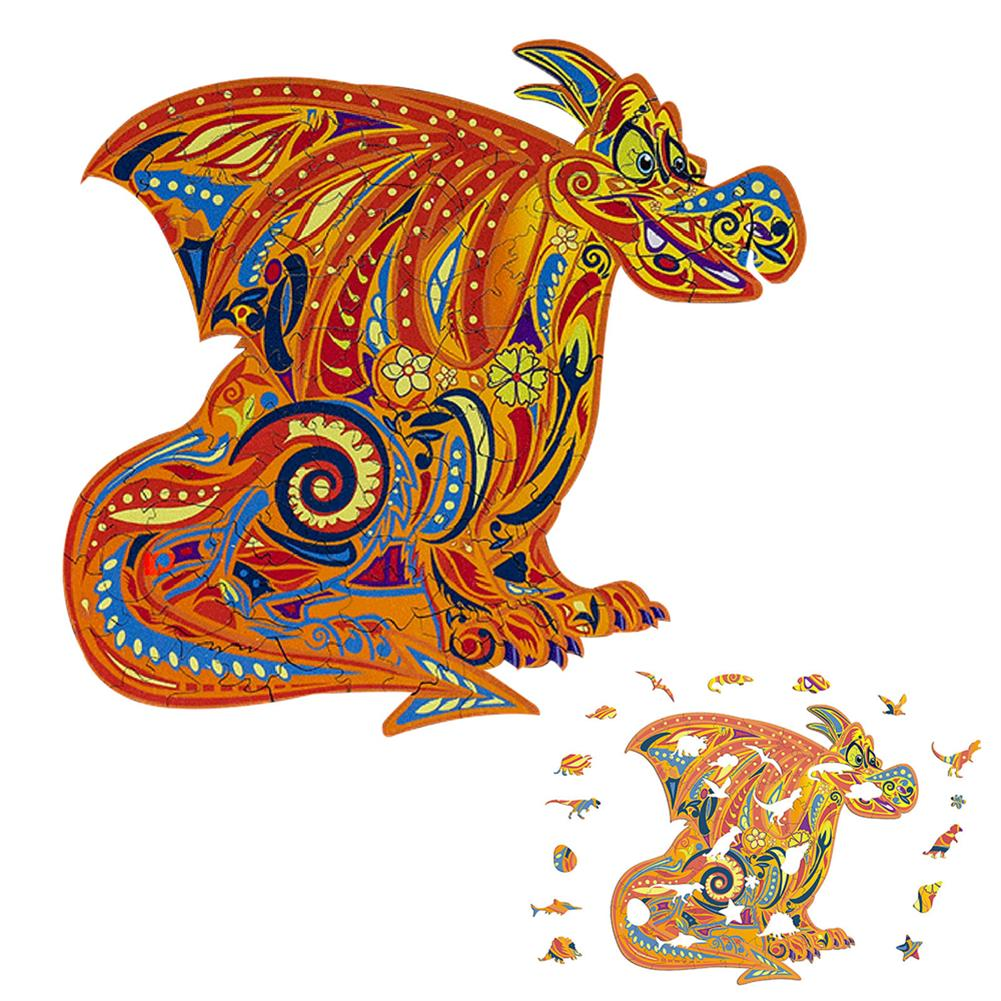 other-learning-office-supplies S/M/L DIY Wooden Cartoon Dragon Puzzle Cartoon Unique Shape Pieces Puzzle Gift Educational Game Building Block for Adults Kids Toy HOB1803668 1