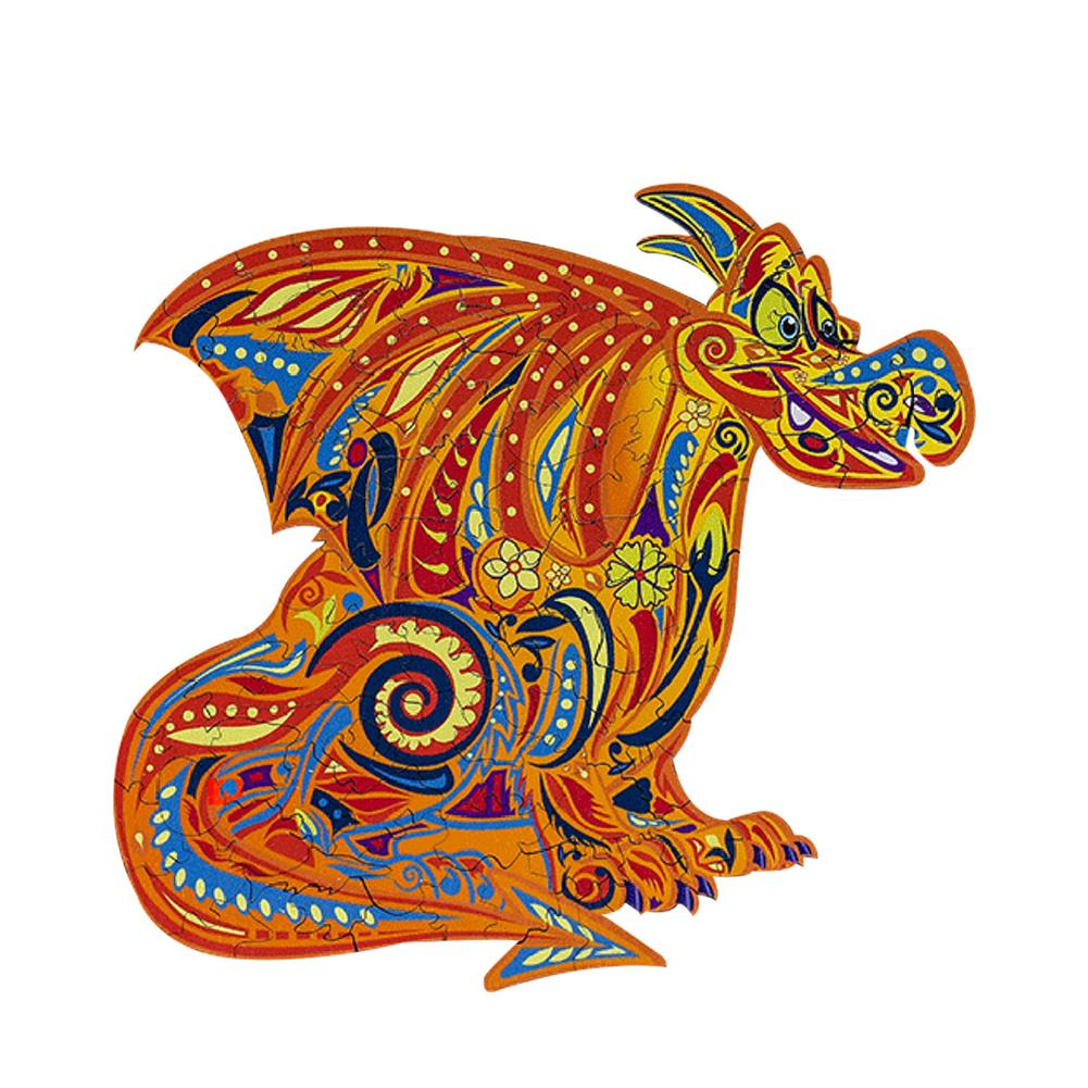 other-learning-office-supplies S/M/L DIY Wooden Cartoon Dragon Puzzle Cartoon Unique Shape Pieces Puzzle Gift Educational Game Building Block for Adults Kids Toy HOB1803668 1 1