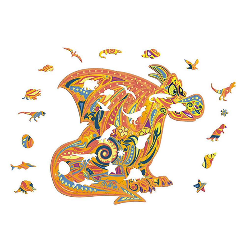 other-learning-office-supplies S/M/L DIY Wooden Cartoon Dragon Puzzle Cartoon Unique Shape Pieces Puzzle Gift Educational Game Building Block for Adults Kids Toy HOB1803668 2 1