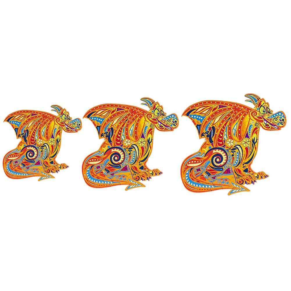 other-learning-office-supplies S/M/L DIY Wooden Cartoon Dragon Puzzle Cartoon Unique Shape Pieces Puzzle Gift Educational Game Building Block for Adults Kids Toy HOB1803668 3 1