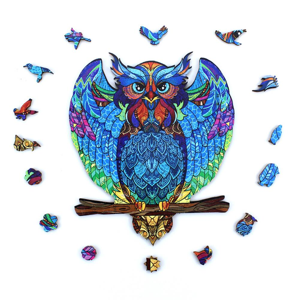 other-learning-office-supplies S/M DIY Wooden Owl Puzzle Cartoon Unique Shape Pieces Puzzle Gift Educational Game Building Block for Adults Kids Toy HOB1803722 1