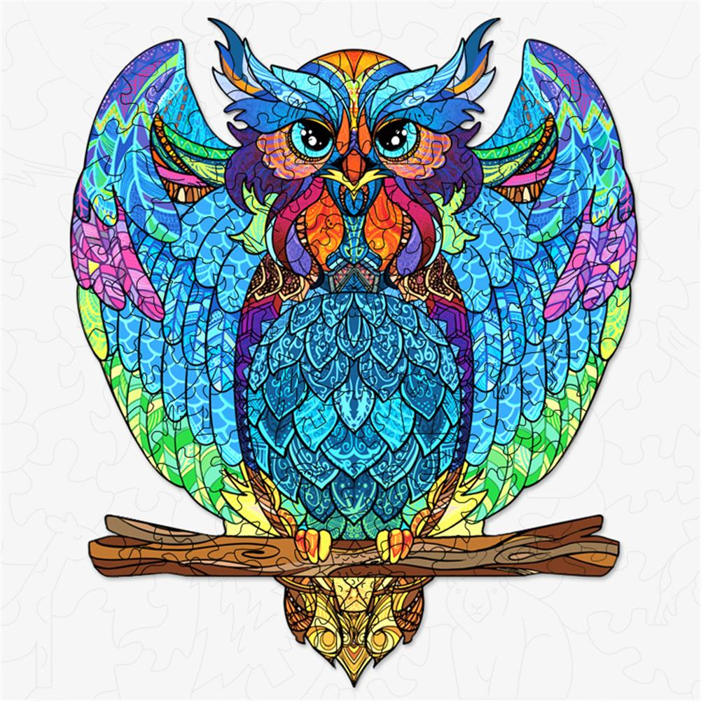 other-learning-office-supplies S/M DIY Wooden Owl Puzzle Cartoon Unique Shape Pieces Puzzle Gift Educational Game Building Block for Adults Kids Toy HOB1803722 1 1