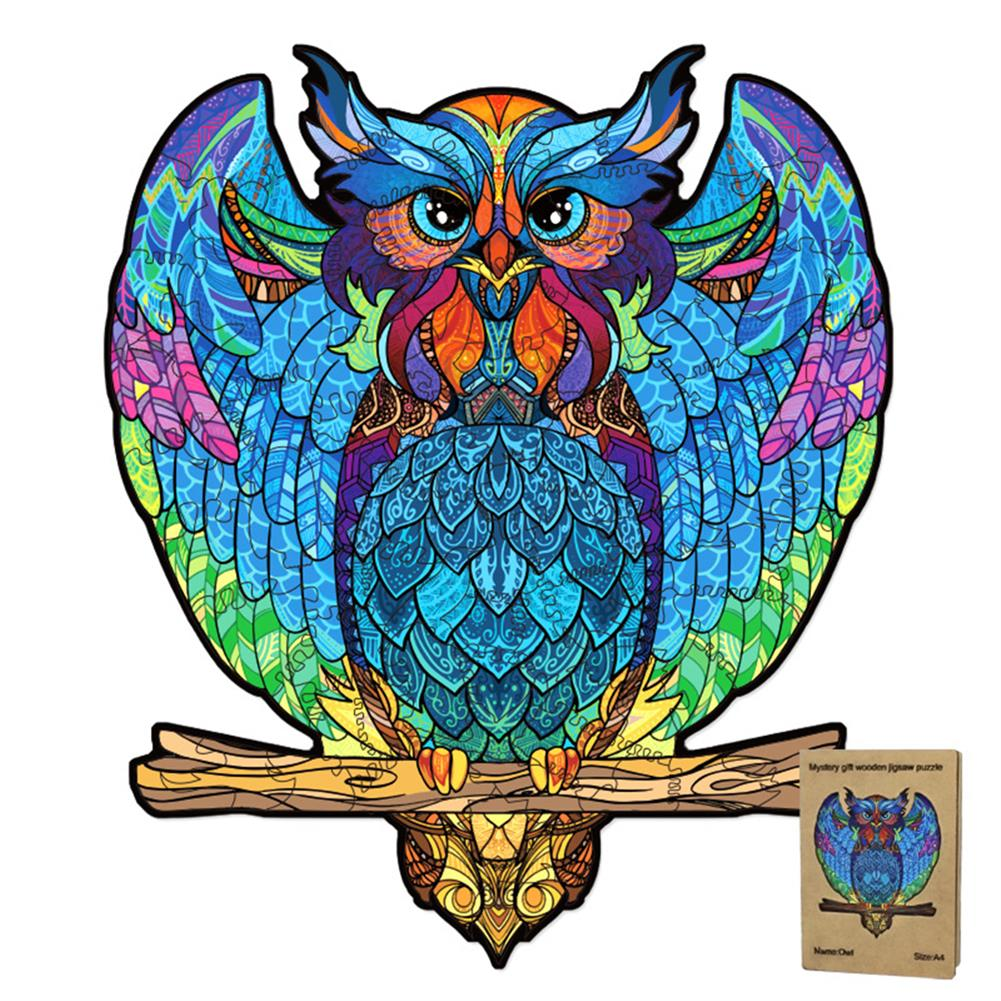other-learning-office-supplies S/M DIY Wooden Owl Puzzle Cartoon Unique Shape Pieces Puzzle Gift Educational Game Building Block for Adults Kids Toy HOB1803722 2 1