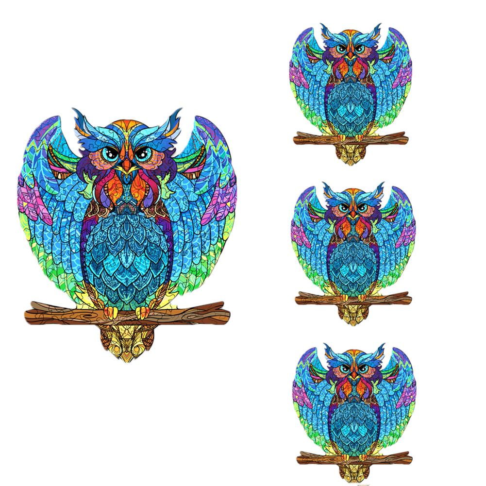 other-learning-office-supplies S/M DIY Wooden Owl Puzzle Cartoon Unique Shape Pieces Puzzle Gift Educational Game Building Block for Adults Kids Toy HOB1803722 3 1