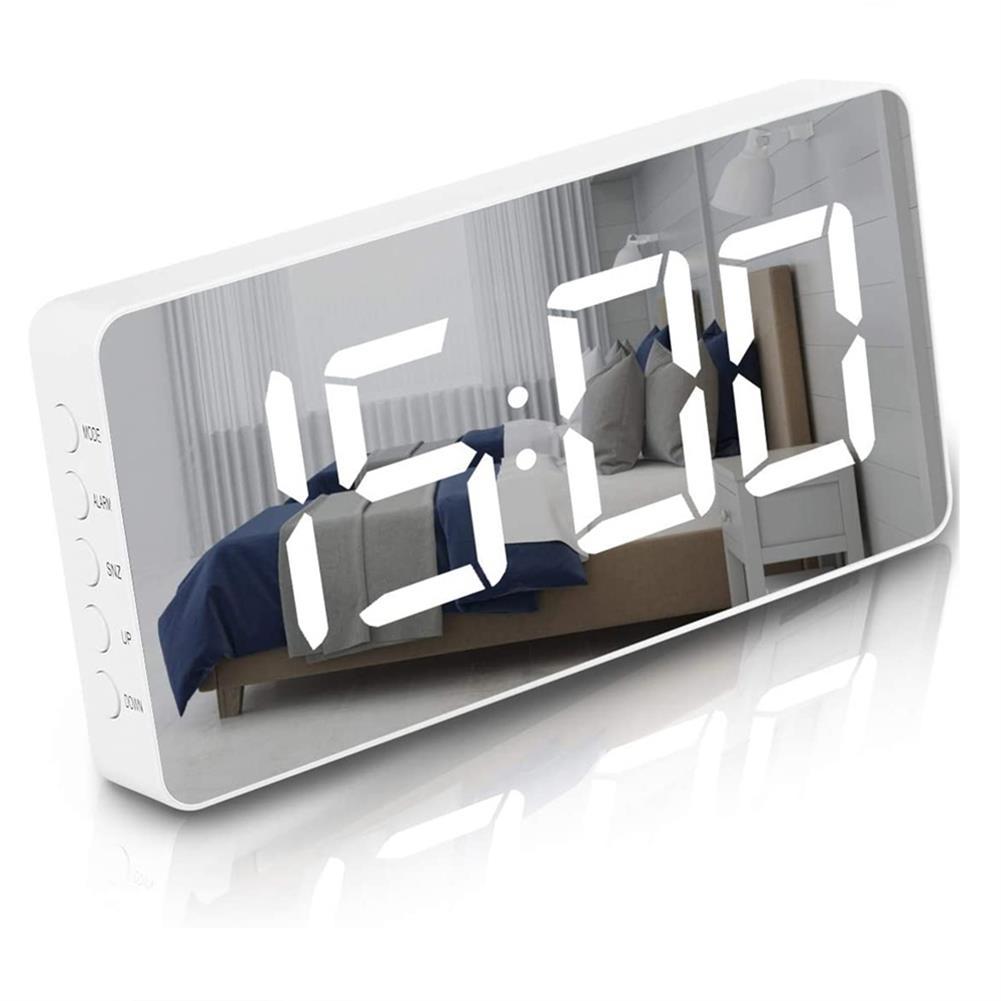 desktop-off-surface-shelves LED Mirror Alarm Clock Digital Electronic Temperature Date Display Clock Large Screen USB Charger Alarm Clock for Kids HOB1804030 1