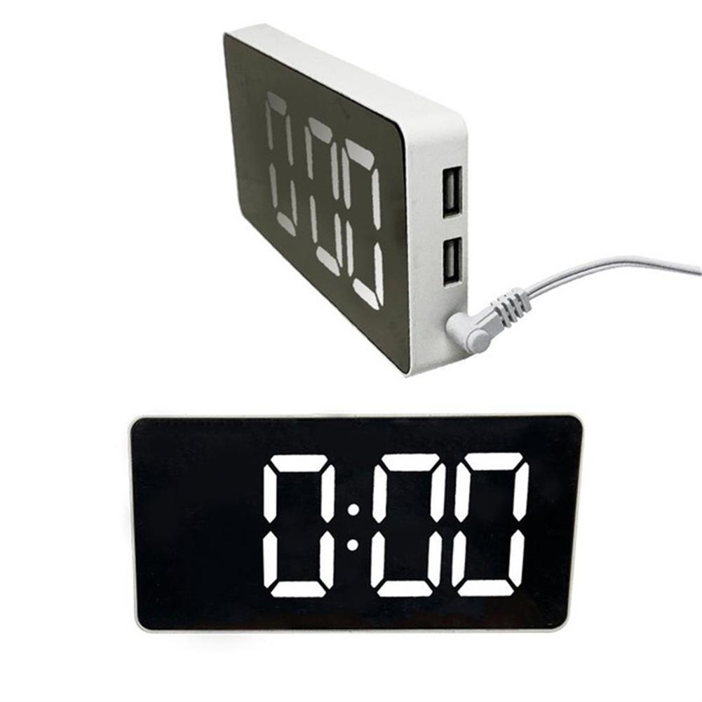 desktop-off-surface-shelves LED Mirror Alarm Clock Digital Electronic Temperature Date Display Clock Large Screen USB Charger Alarm Clock for Kids HOB1804030 1 1