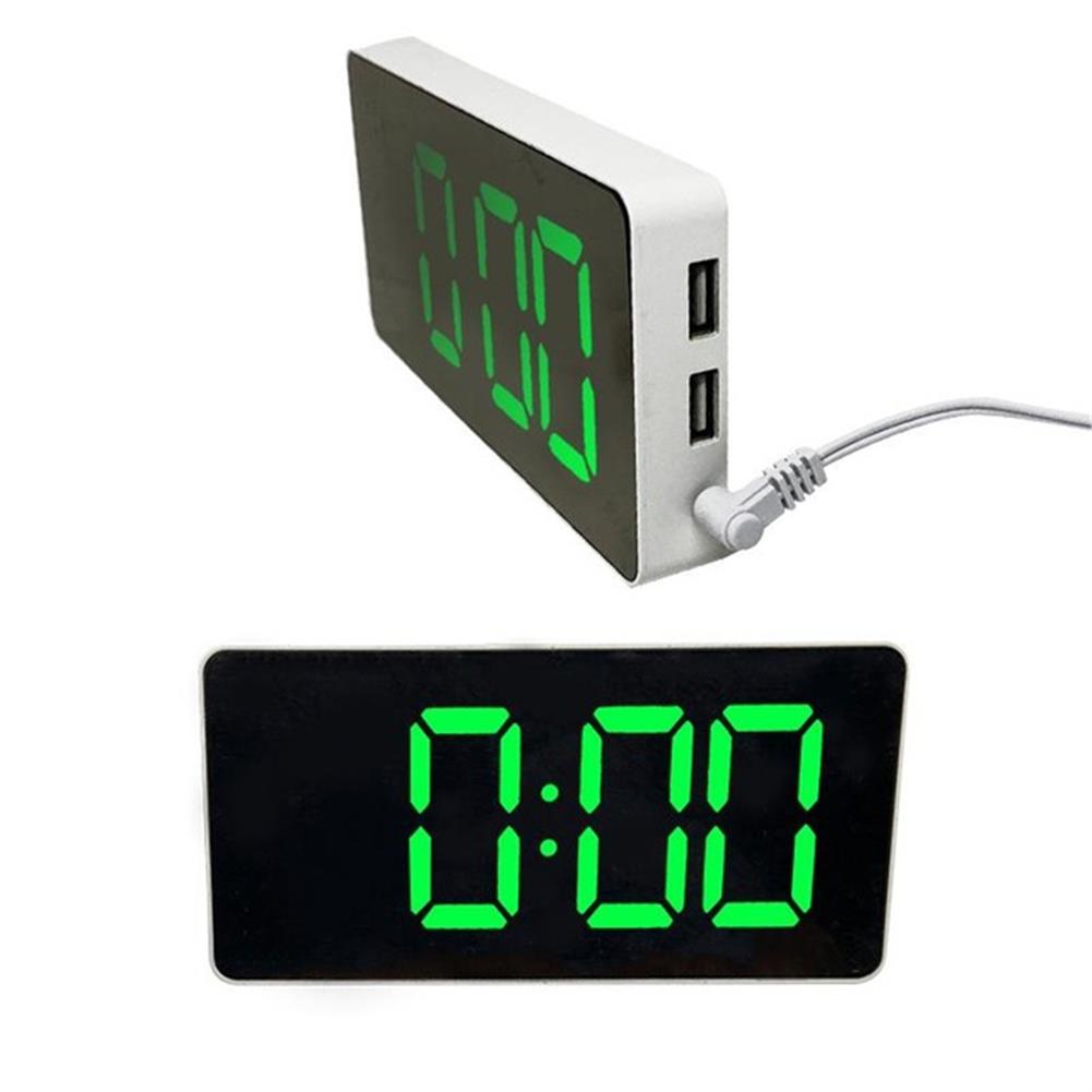 desktop-off-surface-shelves LED Mirror Alarm Clock Digital Electronic Temperature Date Display Clock Large Screen USB Charger Alarm Clock for Kids HOB1804030 2 1