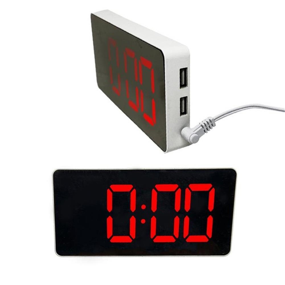 desktop-off-surface-shelves LED Mirror Alarm Clock Digital Electronic Temperature Date Display Clock Large Screen USB Charger Alarm Clock for Kids HOB1804030 3 1