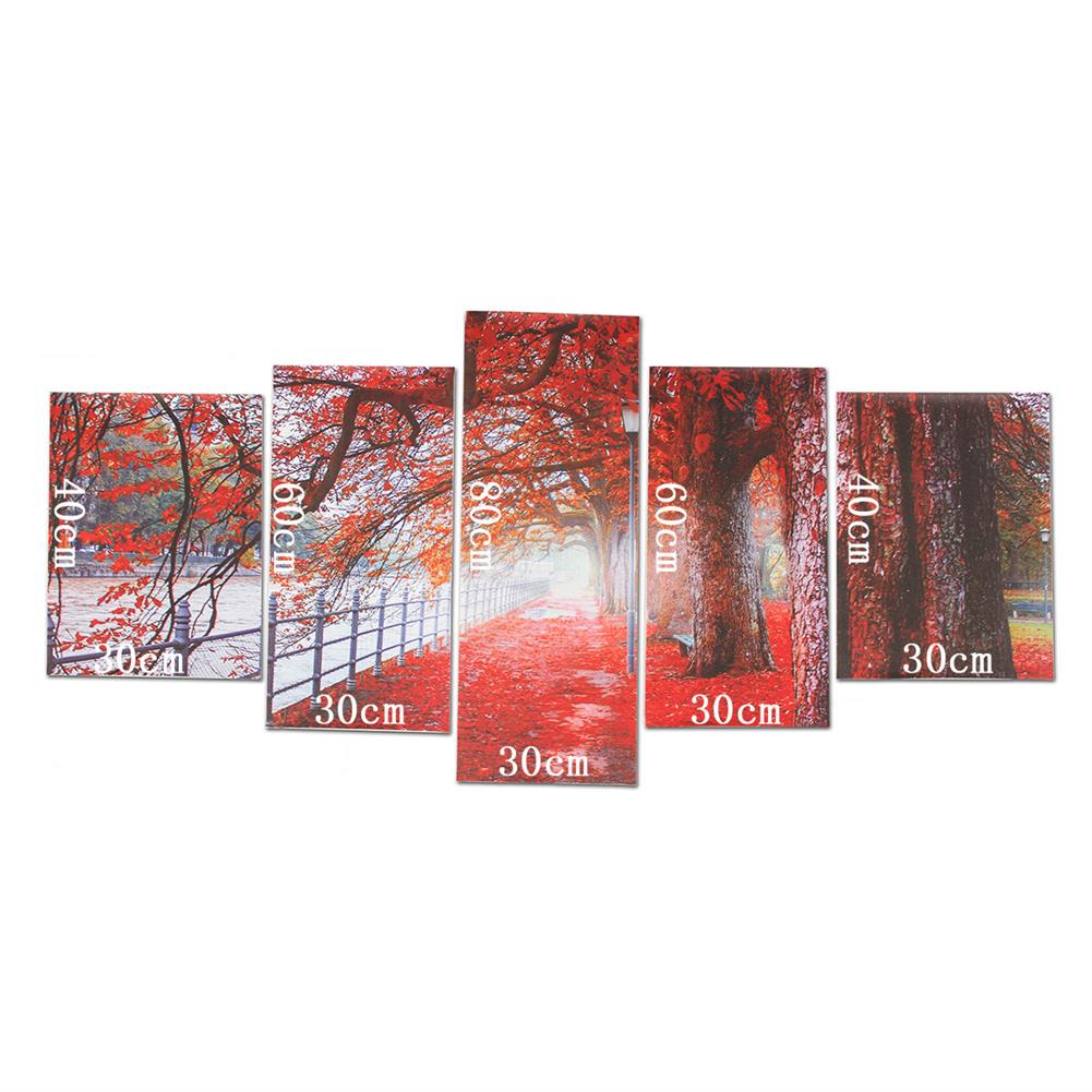 art-kit 5Pcs Red Falling Leaves Canvas Painting Autumn Tree Wall Decorative Print Art Pictures Unframed Wall Hanging Home office Decorations HOB1809936 1