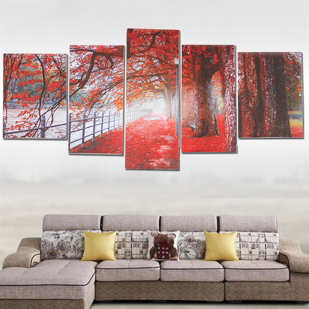 art-kit 5Pcs Red Falling Leaves Canvas Painting Autumn Tree Wall Decorative Print Art Pictures Unframed Wall Hanging Home office Decorations HOB1809936 1 1
