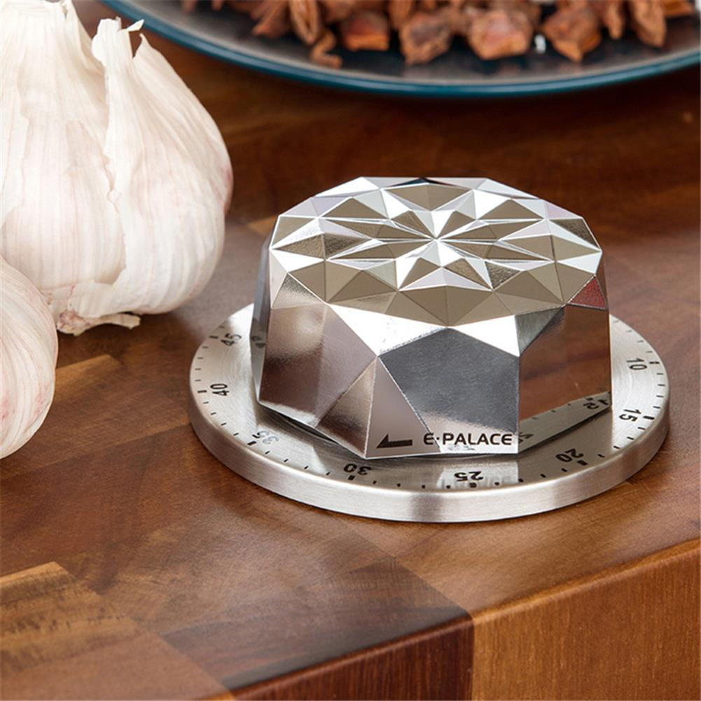 desktop-off-surface-shelves 1pc Stainless Steel Timer Flower Shape Mechanical Timer Countdown Reminder Magnetic Base Kitchen Cooking Study Exam Home Tool HOB1811166 2 1