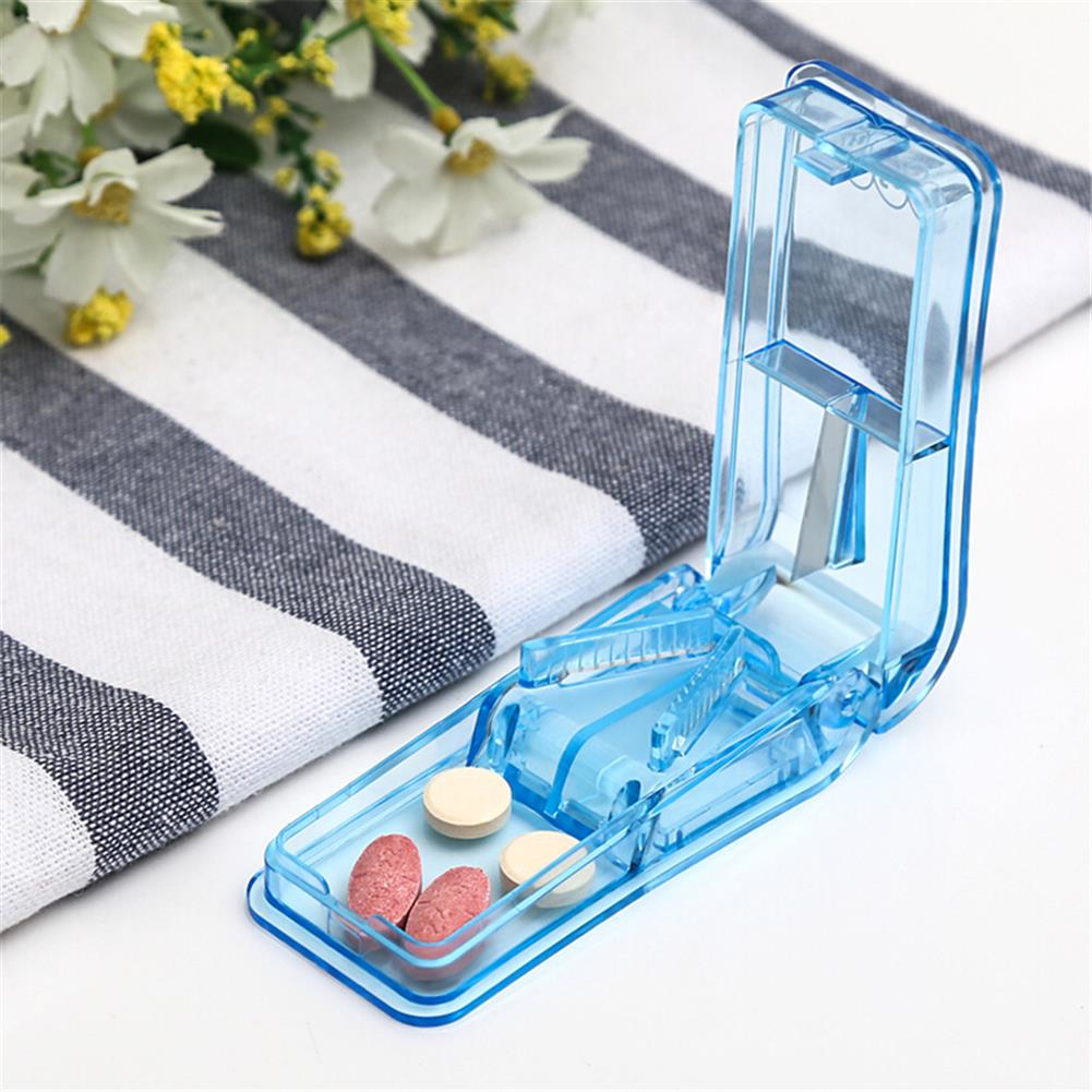 desktop-off-surface-shelves Mini Folding Pill Cutter Portable Convenient Drug Box Tablet Cutter Splitter Holder Easy for Children Older People Use HOB1811916 2 1