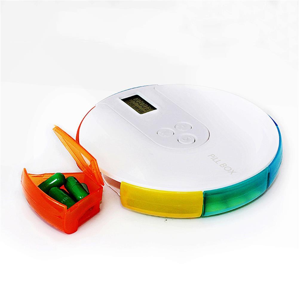 desktop-off-surface-shelves 7 Grid Pill Box Portable DIY Digital Small Electric Pocket Convenient Week Pill Box Organizer Timer Reminder Travel Case Supplies HOB1811981 3 1