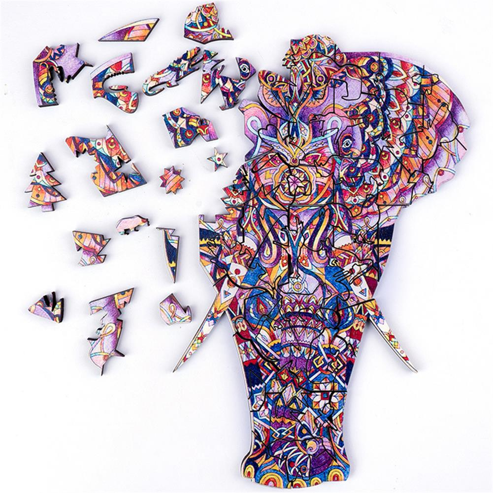 other-learning-office-supplies A3/A4/A5 Unique Shape Wooden Ivory Puzzle Toy Jigsaw Pieces Purple Elephant Early Education Puzzle Art Toys Gifts for Family Game HOB1814374 1