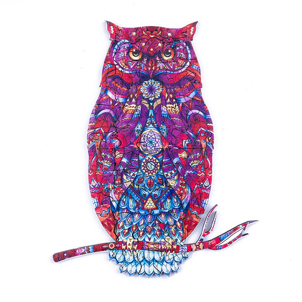 other-learning-office-supplies A3/A4/A5 Unique Shape Wooden Animal Ornate Owl Puzzle Toy Jigsaw Pieces Early Education Puzzle Art Toys Gifts for Family Game HOB1814383 1