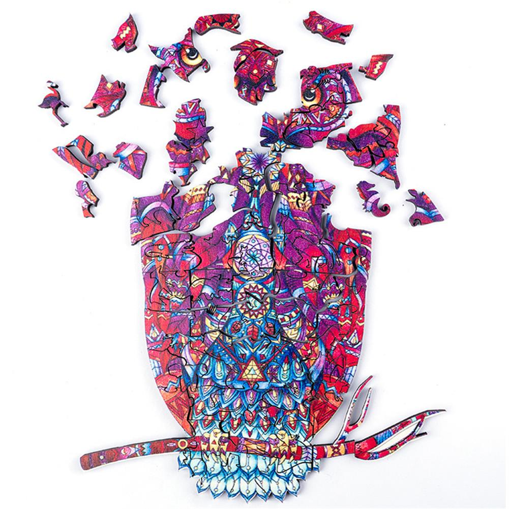 other-learning-office-supplies A3/A4/A5 Unique Shape Wooden Animal Ornate Owl Puzzle Toy Jigsaw Pieces Early Education Puzzle Art Toys Gifts for Family Game HOB1814383 1 1