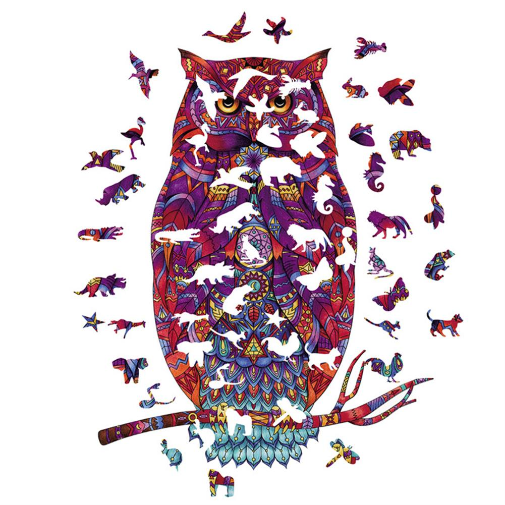 other-learning-office-supplies A3/A4/A5 Unique Shape Wooden Animal Ornate Owl Puzzle Toy Jigsaw Pieces Early Education Puzzle Art Toys Gifts for Family Game HOB1814383 2 1