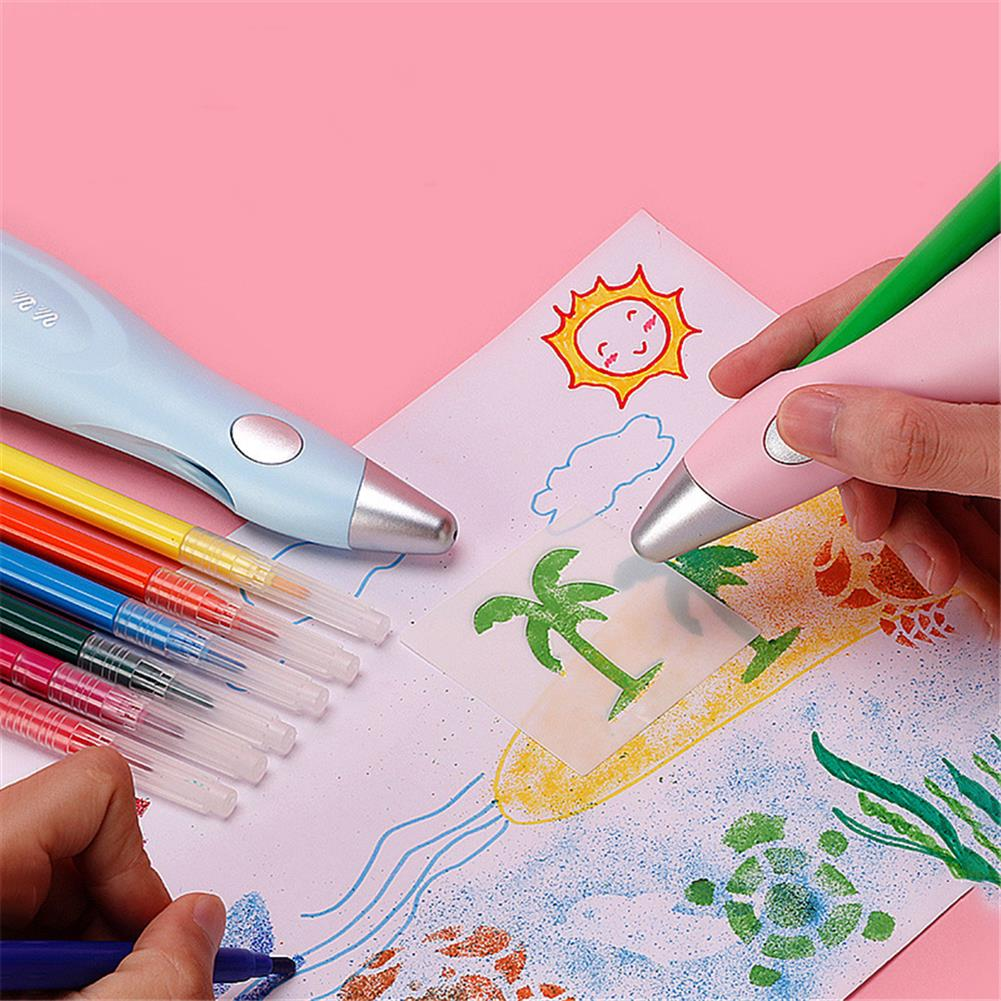 art-kit 10win 8084 Electric Airbrush Watercolor Pen Set Washable Art Drawing Pen for Children Learning Painting Tool Supplies HOB1816357 2 1